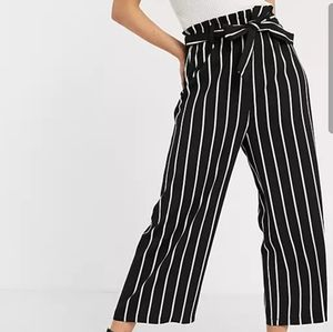 High Waisted Culotte Wide Leg Striped Pants